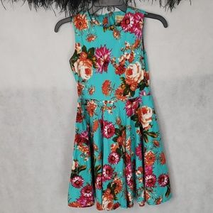 KATE KASIN girls blue and floral dress size 11/12
